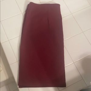 Maroon, cotton, pencil skirt